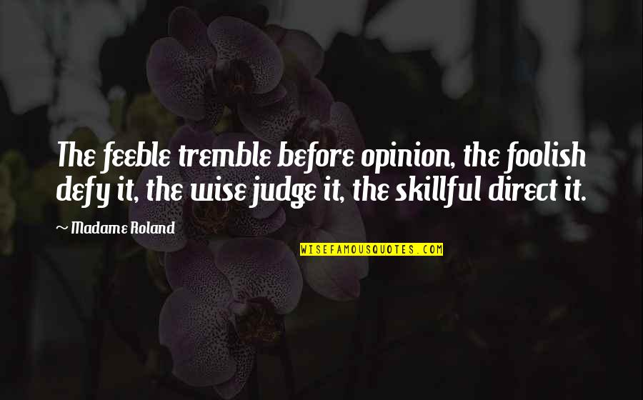Skillful Quotes By Madame Roland: The feeble tremble before opinion, the foolish defy