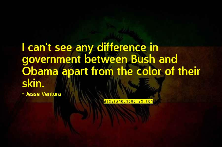 Skin Color Quotes By Jesse Ventura: I can't see any difference in government between