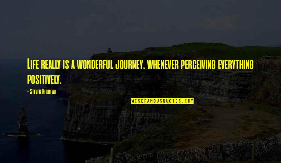 Skulker's Quotes By Steven Redhead: Life really is a wonderful journey, whenever perceiving