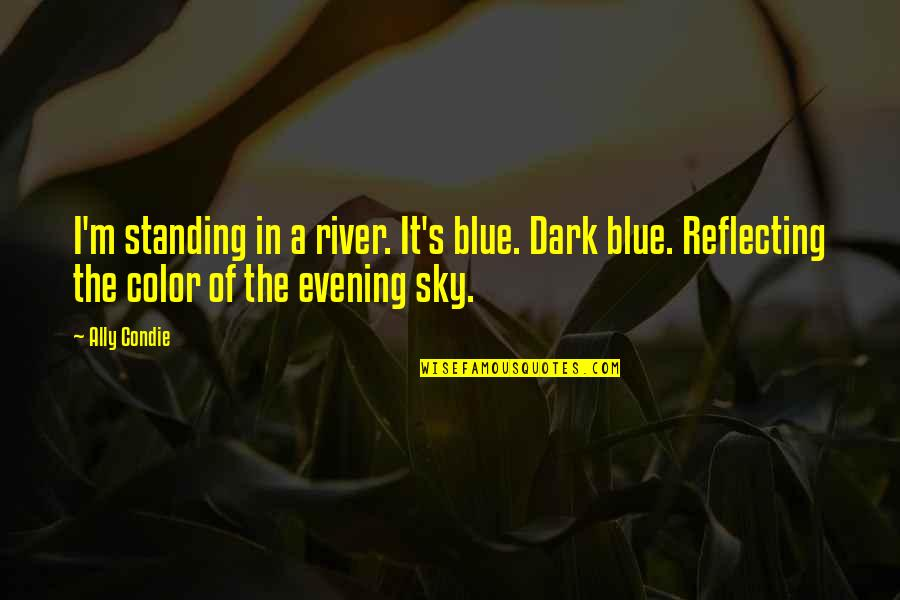 Sky Blue Color Quotes By Ally Condie: I'm standing in a river. It's blue. Dark