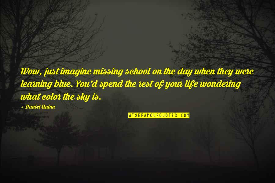 Sky Life Quotes By Daniel Quinn: Wow, just imagine missing school on the day