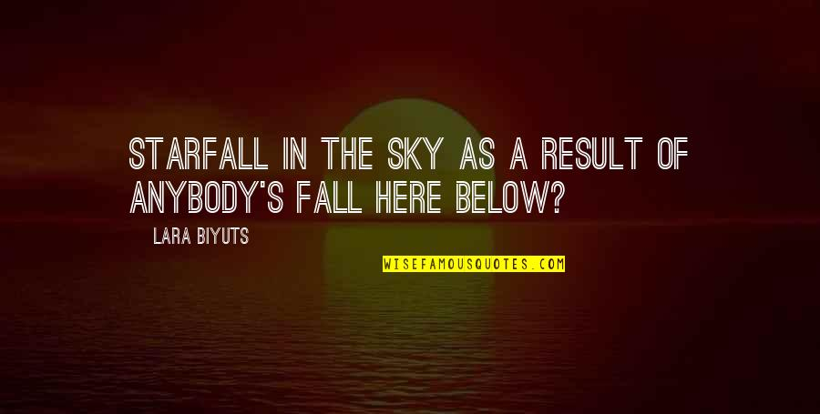 Sky Life Quotes By Lara Biyuts: Starfall in the sky as a result of