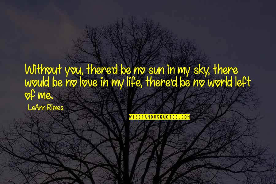 Sky Life Quotes By LeAnn Rimes: Without you, there'd be no sun in my