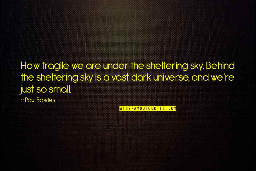 Sky Life Quotes By Paul Bowles: How fragile we are under the sheltering sky.