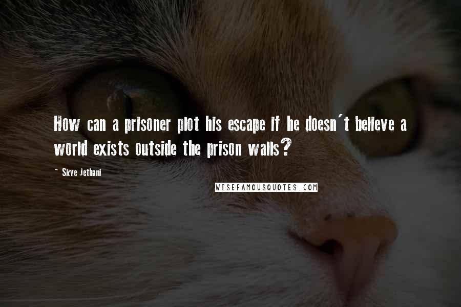 Skye Jethani quotes: How can a prisoner plot his escape if he doesn't believe a world exists outside the prison walls?