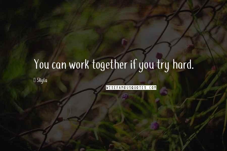 Skyla quotes: You can work together if you try hard.