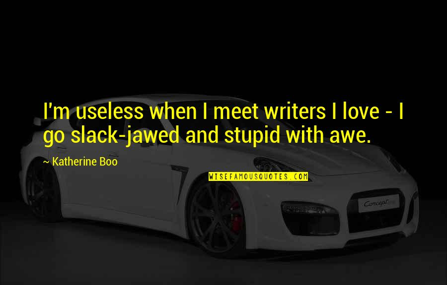 Slack Off Quotes By Katherine Boo: I'm useless when I meet writers I love