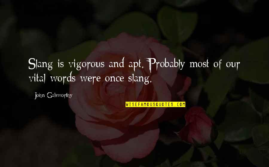 Slang Words In Quotes By John Galsworthy: Slang is vigorous and apt. Probably most of