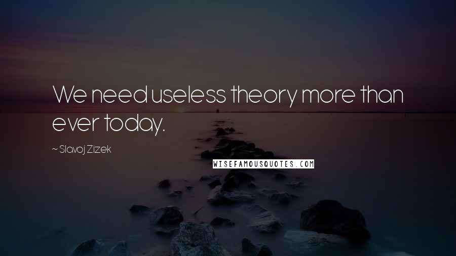 Slavoj Zizek quotes: We need useless theory more than ever today.