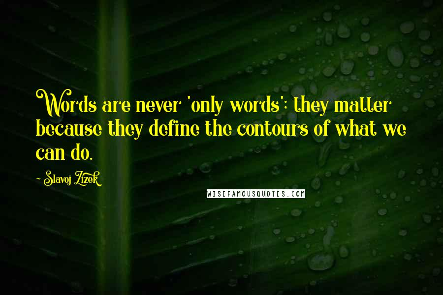 Slavoj Zizek quotes: Words are never 'only words'; they matter because they define the contours of what we can do.