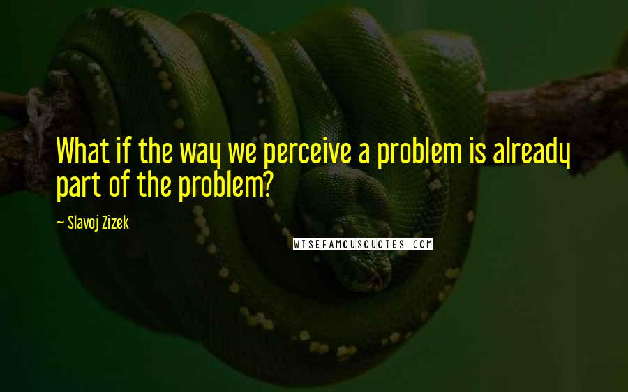 Slavoj Zizek quotes: What if the way we perceive a problem is already part of the problem?