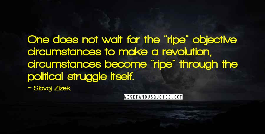 "Slavoj Zizek quotes: One does not wait for the ""ripe"" objective circumstances to make a revolution, circumstances become ""ripe"" through the political struggle itself."