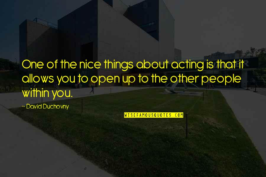 Sleeping On His Lap Quotes By David Duchovny: One of the nice things about acting is