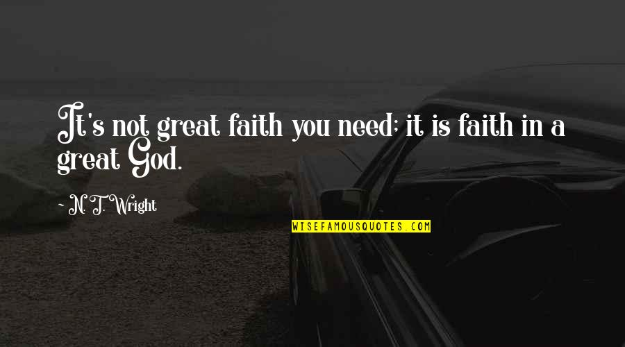 Sleeping Thinking Of You Quotes By N. T. Wright: It's not great faith you need; it is