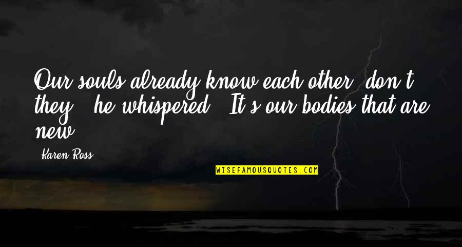Sleeping With Sirens Heroine Quotes By Karen Ross: Our souls already know each other, don't they?'