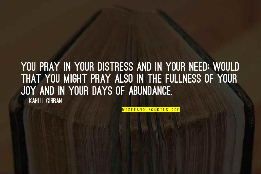 Sleuths Quotes By Kahlil Gibran: You pray in your distress and in your