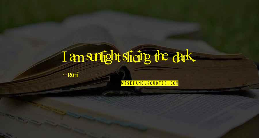 Slicing Quotes By Rumi: I am sunlight slicing the dark.