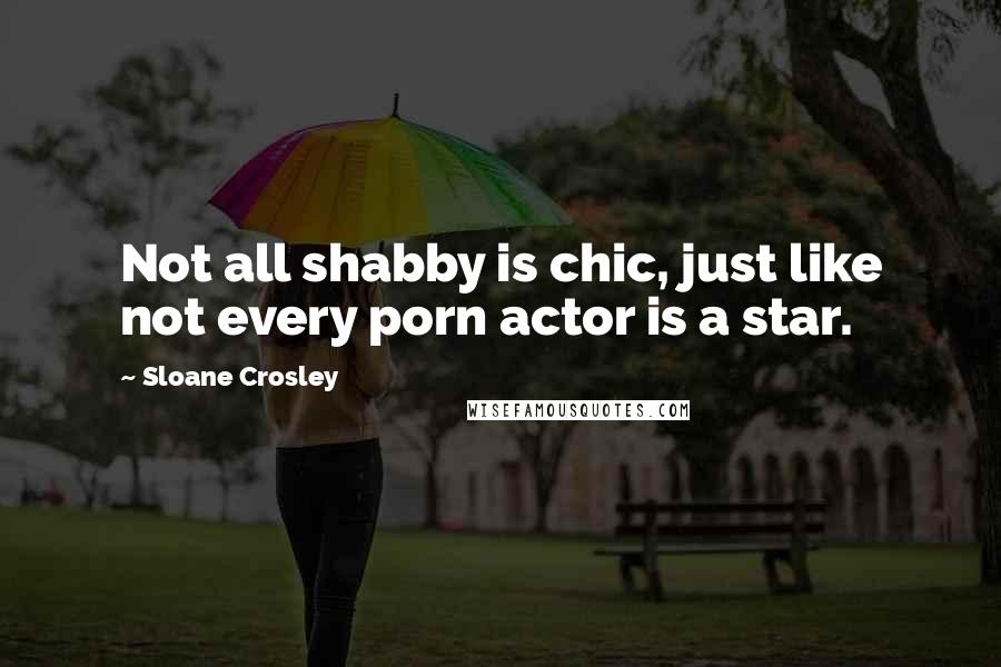 Sloane Crosley quotes: Not all shabby is chic, just like not every porn actor is a star.