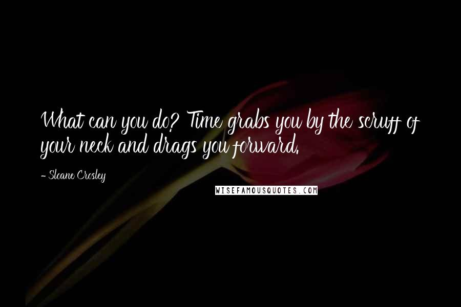Sloane Crosley quotes: What can you do? Time grabs you by the scruff of your neck and drags you forward.