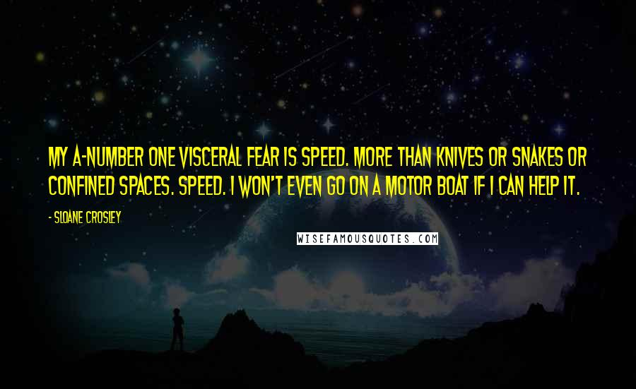 Sloane Crosley quotes: My A-number one visceral fear is speed. More than knives or snakes or confined spaces. Speed. I won't even go on a motor boat if I can help it.