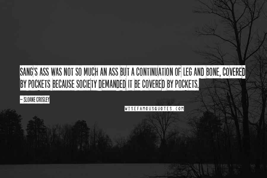 Sloane Crosley quotes: Sang's ass was not so much an ass but a continuation of leg and bone, covered by pockets because society demanded it be covered by pockets.
