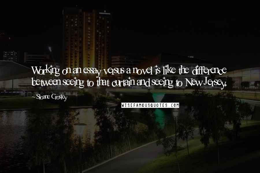 Sloane Crosley quotes: Working on an essay versus a novel is like the difference between seeing to that curtain and seeing to New Jersey.
