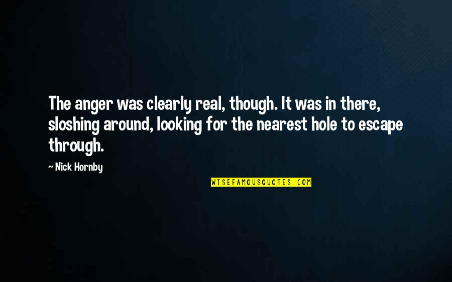 Sloshing Quotes By Nick Hornby: The anger was clearly real, though. It was
