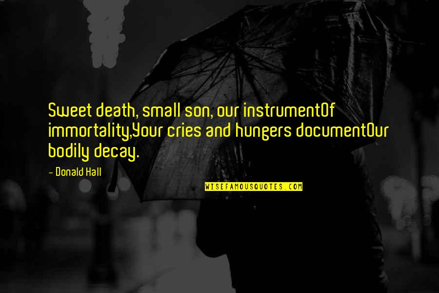 Small Son Quotes By Donald Hall: Sweet death, small son, our instrumentOf immortality,Your cries