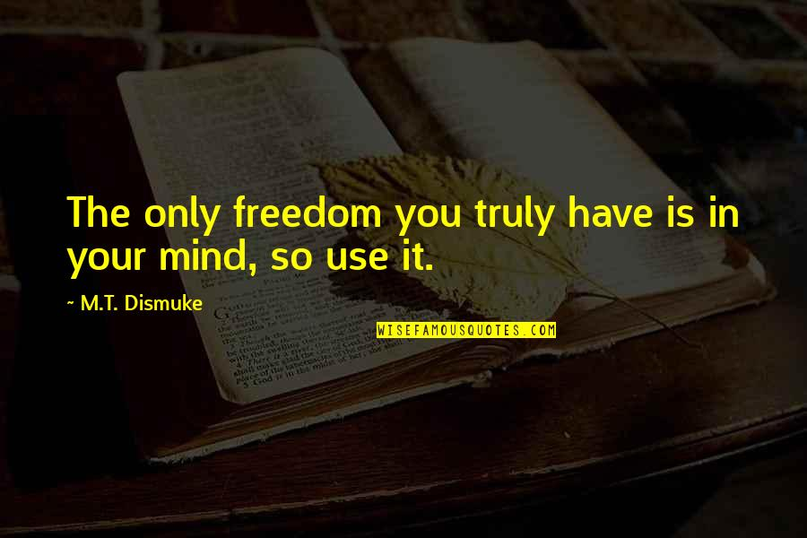Smart'n'civ'lize Quotes By M.T. Dismuke: The only freedom you truly have is in