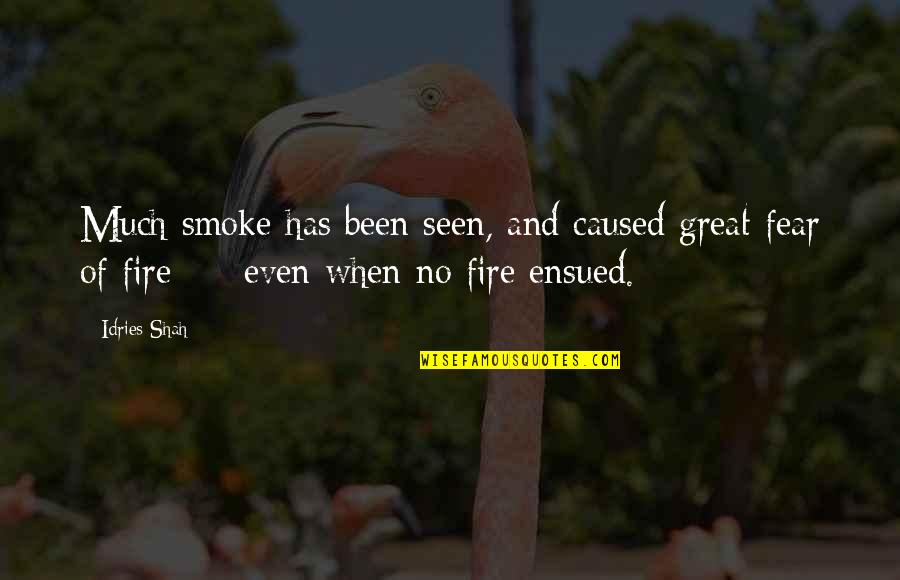 Smoke And Fire Quotes By Idries Shah: Much smoke has been seen, and caused great