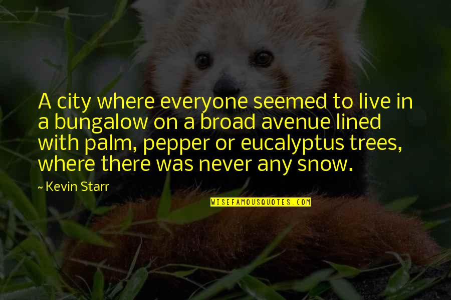 Snow On Trees Quotes By Kevin Starr: A city where everyone seemed to live in