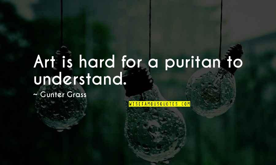 So Hard To Understand Quotes By Gunter Grass: Art is hard for a puritan to understand.