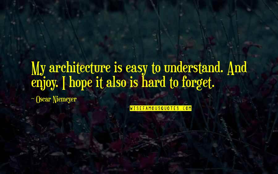 So Hard To Understand Quotes By Oscar Niemeyer: My architecture is easy to understand. And enjoy.