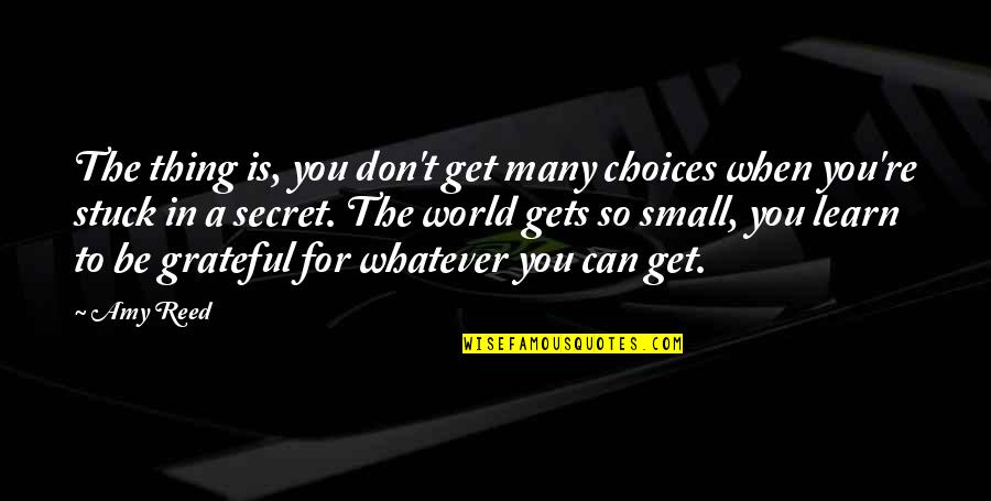 So Many Choices Quotes By Amy Reed: The thing is, you don't get many choices