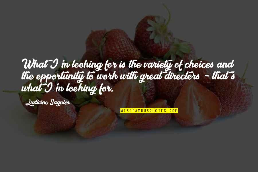 So Many Choices Quotes By Ludivine Sagnier: What I'm looking for is the variety of