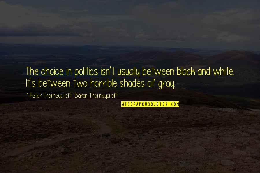 So Many Choices Quotes By Peter Thorneycroft, Baron Thorneycroft: The choice in politics isn't usually between black