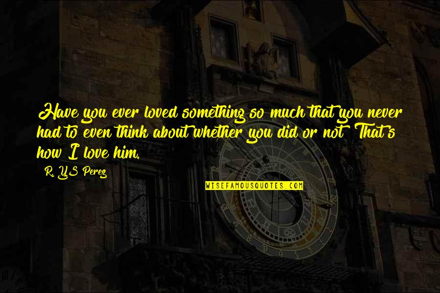 So Much Love Quotes By R. YS Perez: Have you ever loved something so much that
