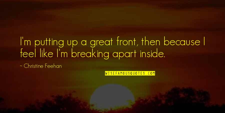 So Much Pain Inside Quotes By Christine Feehan: I'm putting up a great front, then because