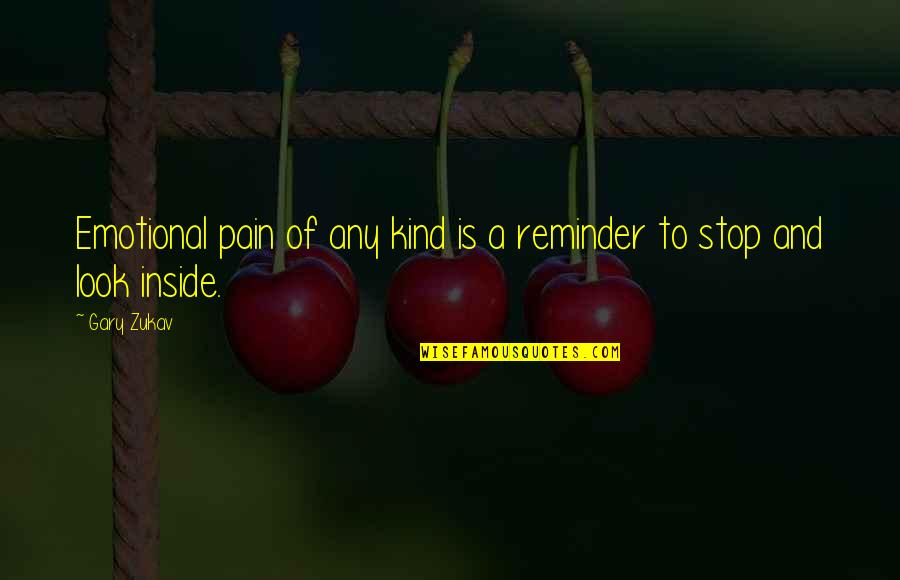 So Much Pain Inside Quotes By Gary Zukav: Emotional pain of any kind is a reminder