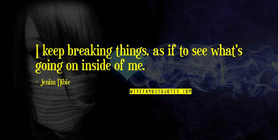 So Much Pain Inside Quotes By Jenim Dibie: I keep breaking things, as if to see