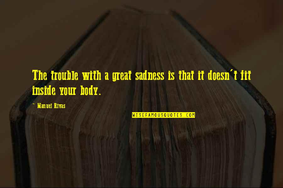 So Much Pain Inside Quotes By Manuel Rivas: The trouble with a great sadness is that