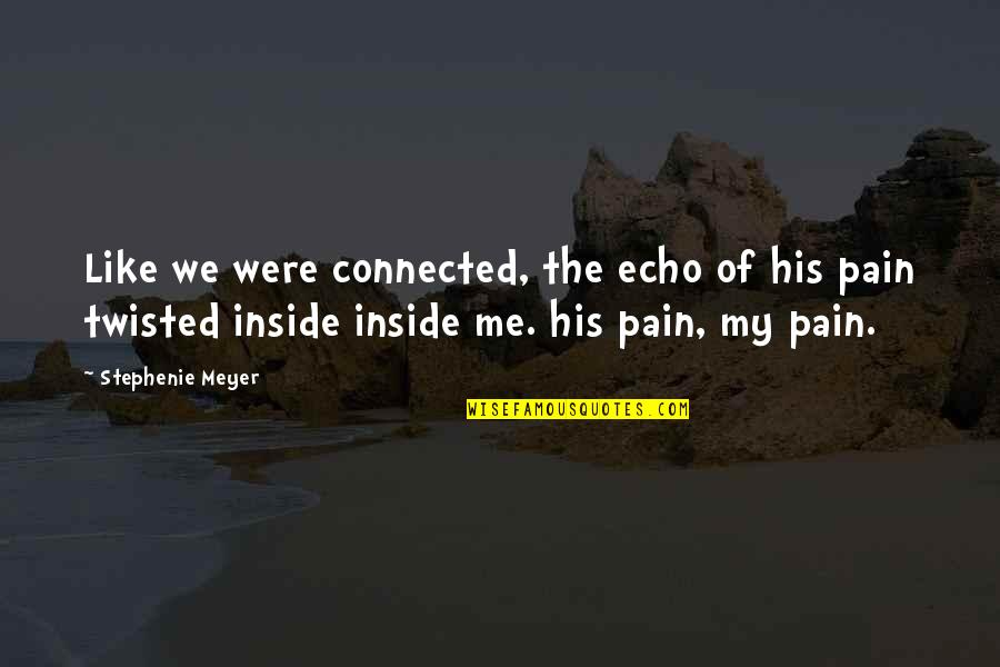 So Much Pain Inside Quotes By Stephenie Meyer: Like we were connected, the echo of his