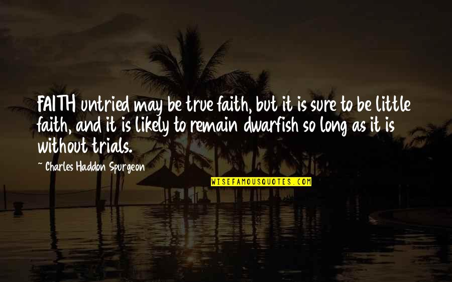 So So True Quotes By Charles Haddon Spurgeon: FAITH untried may be true faith, but it