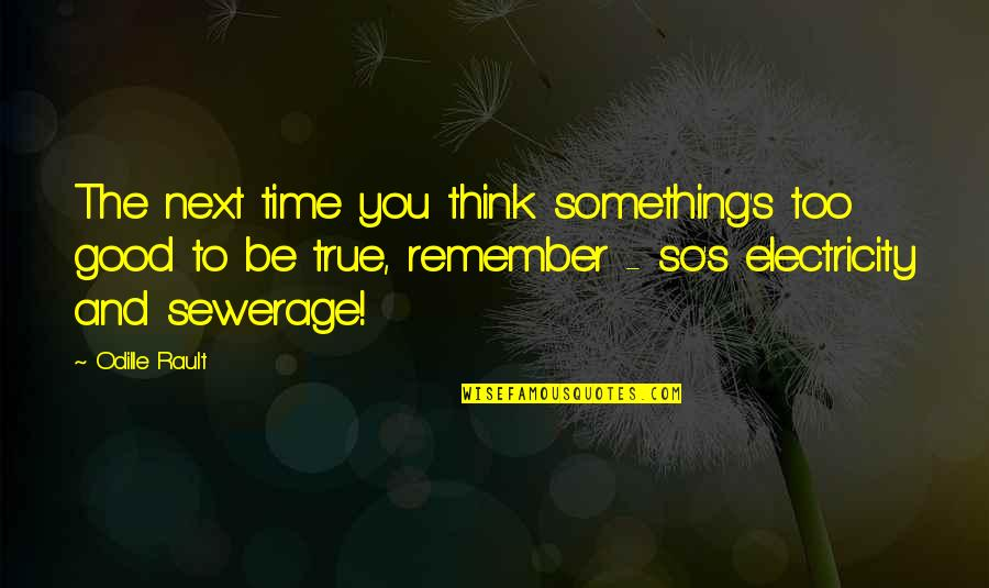 So So True Quotes By Odille Rault: The next time you think something's too good