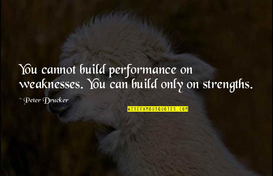 Soapstone Quotes By Peter Drucker: You cannot build performance on weaknesses. You can