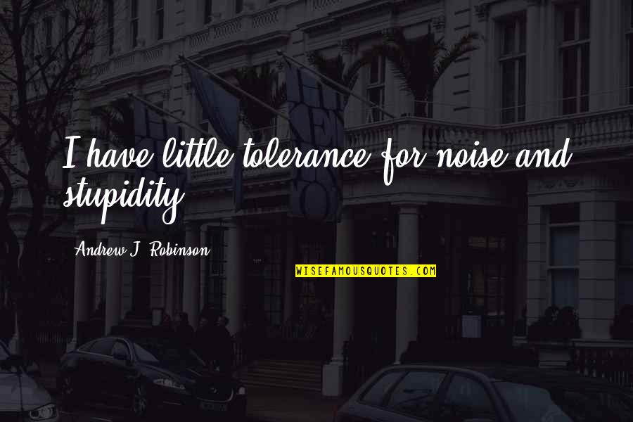 Social Commentary Quotes By Andrew J. Robinson: I have little tolerance for noise and stupidity.