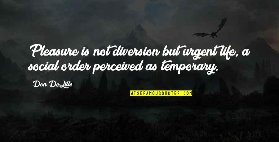 Social Order Quotes By Don DeLillo: Pleasure is not diversion but urgent life, a