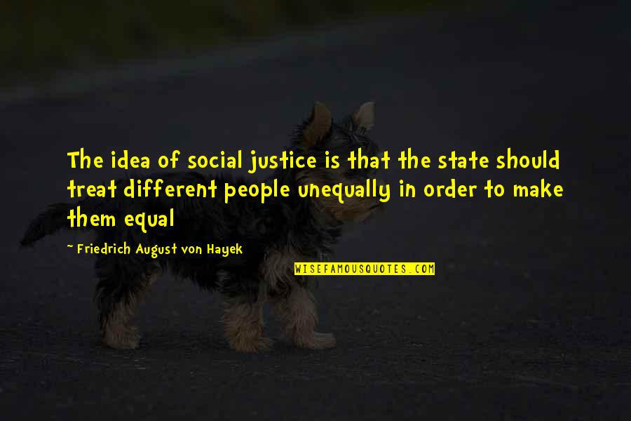 Social Order Quotes By Friedrich August Von Hayek: The idea of social justice is that the