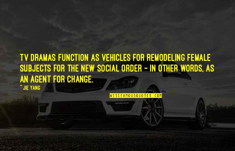 Social Order Quotes By Jie Yang: TV dramas function as vehicles for remodeling female