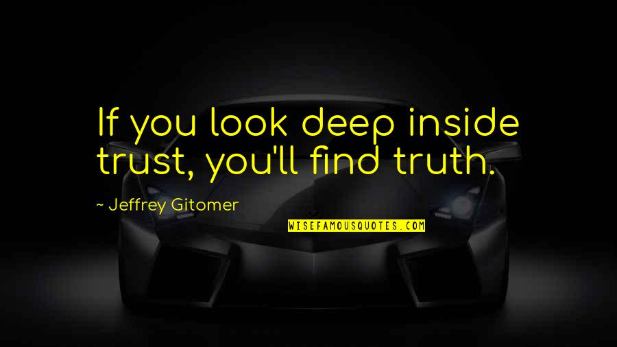 Socialism In The Jungle Quotes By Jeffrey Gitomer: If you look deep inside trust, you'll find